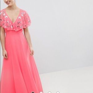Wrap Maxi Dress With Embellished Flutter Sleeves